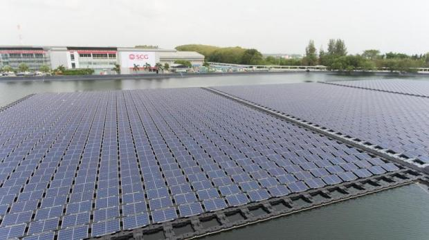 A floating solar farm at a pond at SCG Chemicals' plant in Rayong's Map Ta Phut Industrial Estate.