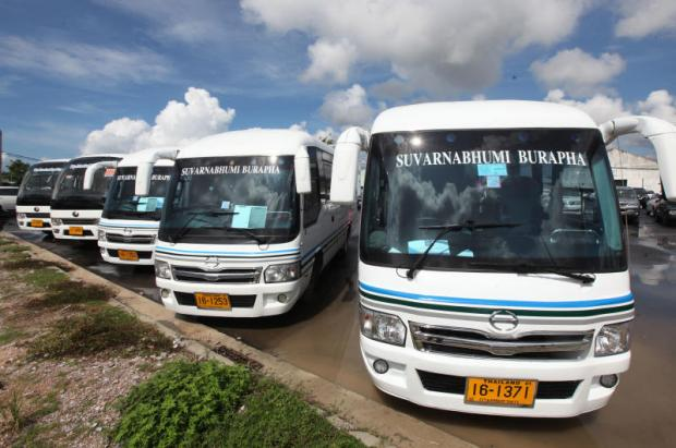Air-conditioned buses are parked and ready to shuttle people from U-Tapao International Airport in Rayong to Chon Buri, Chanthaburi and Trat. The new routes were launched at the airport yesterday after a ceremony presided over by Department of Land Transport chief Sanith Phromwong.Thiti Wannamontha