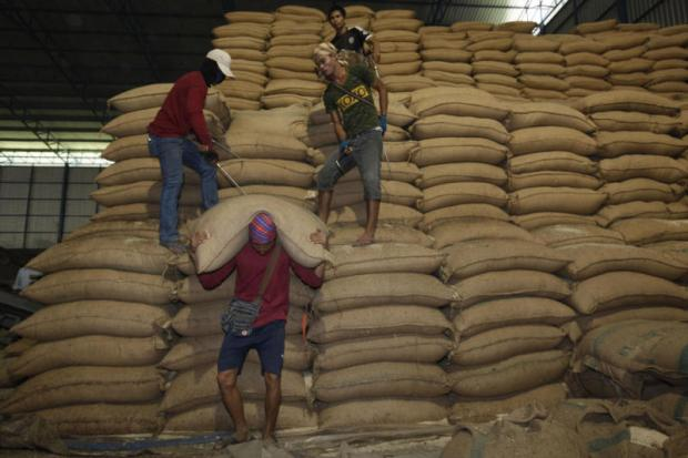 A rice warehouse in Bangkok. Thailand's rice stocks have been reduced.