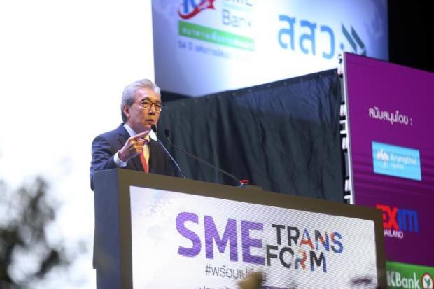 Deputy Prime Minister Somkid Jatusripitak addresses Friday's 'SME Transform' event at Impact Muang Thong Thani.