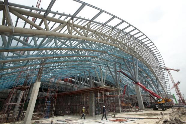 The outside structure of Bang Sue Central Station, a new rail transport hub in Bangkok, is taking shape. It is expected to be the largest railway station in Southeast Asia.