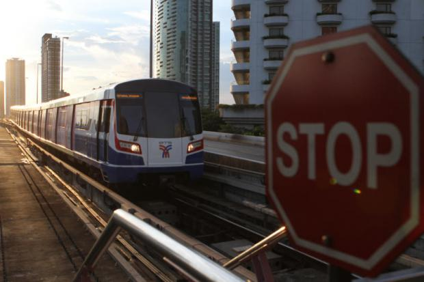 A BTS train is approaching Saphan Taksin Station.PANUMAS SANGUANWONG