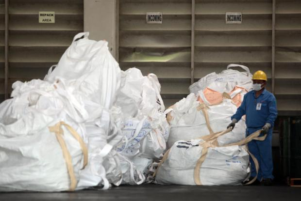 Plastic rubbish imported from other countries is intercepted at Laem Chabang Port on Wednesday.