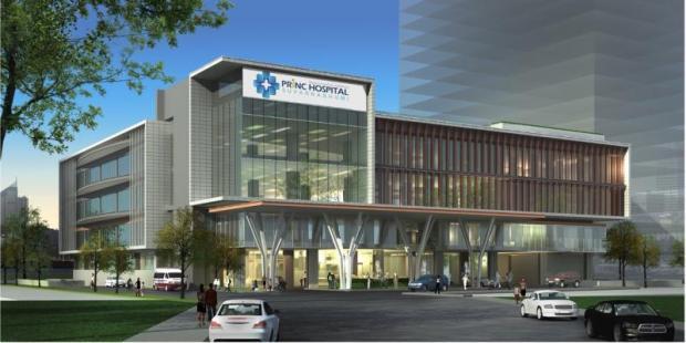An artist's rendering of Princ Hospital Suvarnabhumi in Samut Prakan, developed by Principal Healthcare Co.
