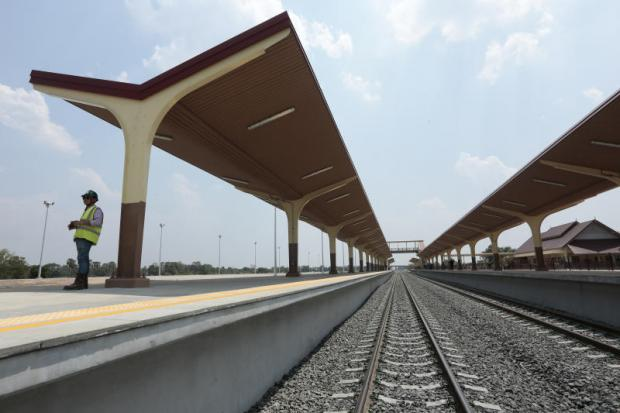 A train station in Khon Kaen, where part of the double-track railway project is taking shape. Patipat Janthong