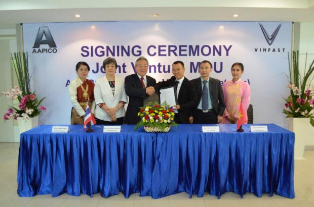 Aapico Hitech and Vinfast executives at the signing event to set up a press shop and assembly operations in Vinfast's Supplier Park in Haiphong, Vietnam.
