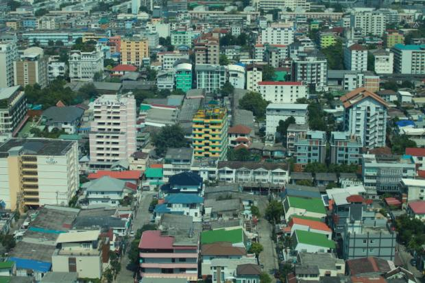 An aerial view of a residential area by Ratchadaphisek Road. SOMCHAI POOMLARD