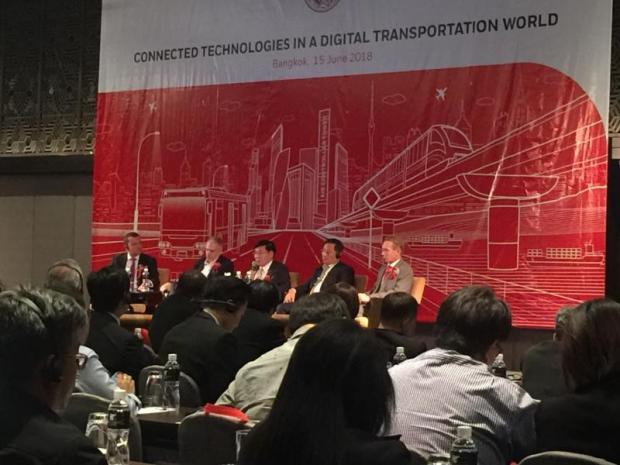Transport and travel analysts at the 'Connected Technologies in a Digital Transportation World' forum in Bangkok last week. SUCHAT SRITAMA