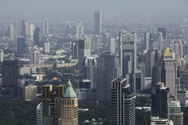 An aerial view of Bangkok, where the highest rent rate so far this year has been 1,500 baht per sq m per month for offices. PATIPAT JANTHONG