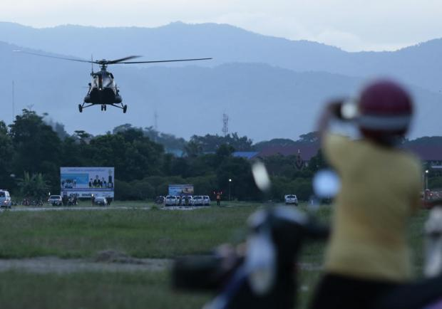 A helicopter takes off from an old airfield known as Wing 416 to transport one of the last five team members who were yesterday extracted from Tham Luang cave in Chiang Rai's Mae Sai district to Chiangrai Prachanukroh Hospital in Muang district.Patipat Janthong