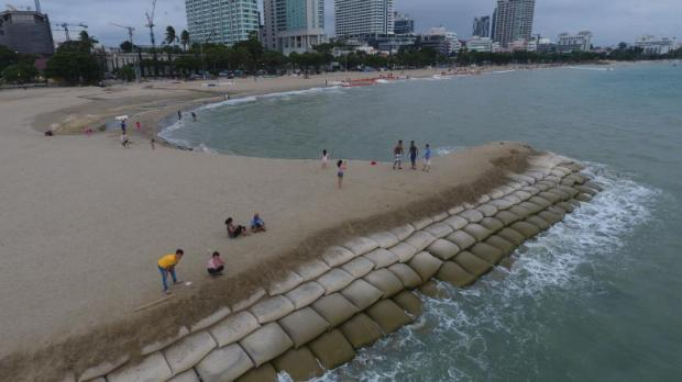Bigger look: Northern Pattaya beach in Chon Buri, now widened by construction of a sandfill to combat natural erosion.