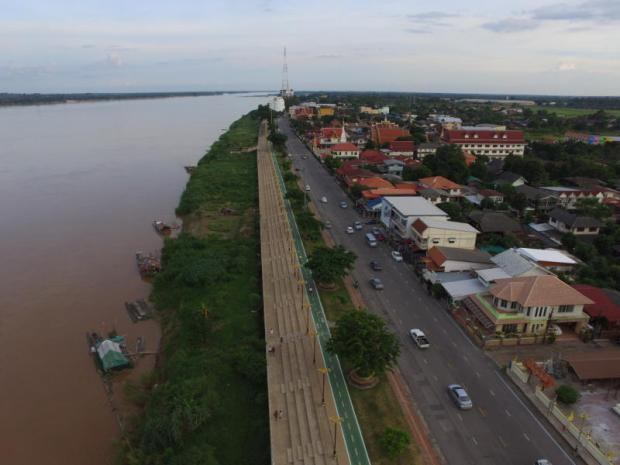An aerial view of Muang Nakhon Phanom on the Mekong River. The area will get a new border freight centre. PATTANAPONG SRIPIANCHAI
