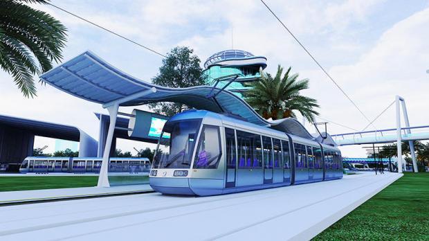 An artist's concept of Khon Kaen's planned light rail, prepared by Khon Kaen City Development Co.