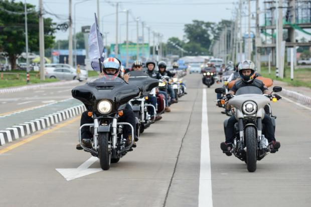 Harley-Davidson riders in Ubon Ratchathani. The US maker is building an assembly plant in Rayong to help meet demand in the Thai market.