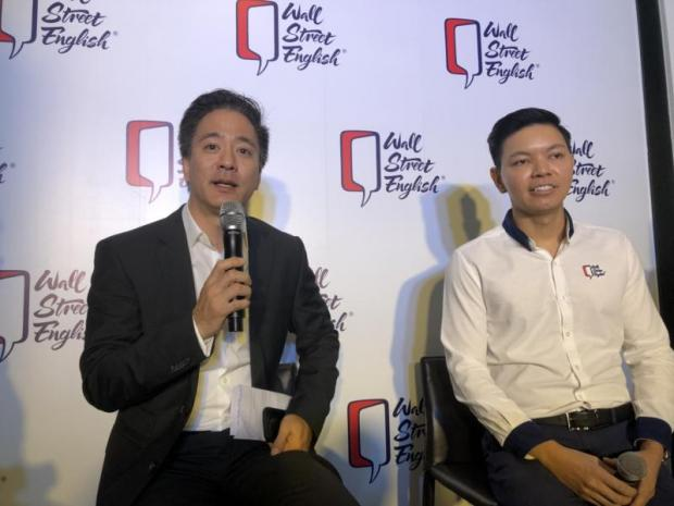 Mr Matthew (left) and Mr Olarn say Wall Street English Thailand will grow faster after securing franchise rights in Cambodia and Laos. PITSINEE JITPLEECHEEP