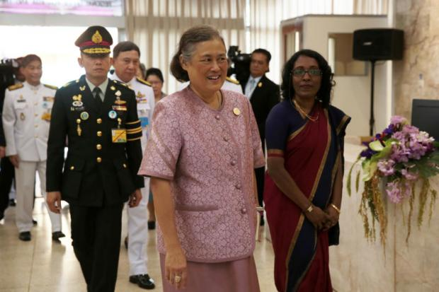 Her Royal Highness Princess Maha Chakri Sirindhorn arrives at the office of the United Nations' Food and Agriculture Organization (FAO) in Bangkok to present Model Farmer Awards to five individuals. The princess is a UN FAO Special Ambassador for Zero Hunger.Chanat Katanyu