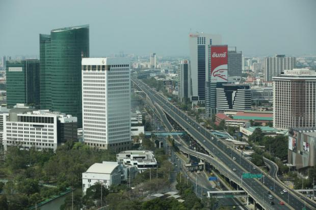 An aerial view of Don Muang Tollway from a building in Lat Phrao Square.