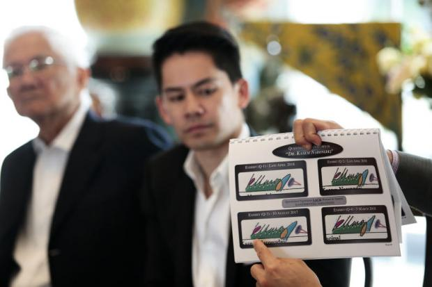 Mr Kasem, left, and the signature that he alleges was forged to divest his shares of WEH, being displayed at a press conference also attended by his sons Mr Korn and Mr Kris. PATIPAT JANTHONG