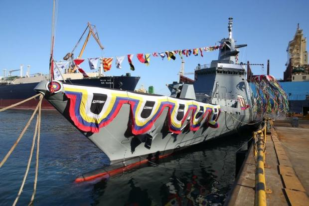 The HTMS 'Tachin', a new frigate built by Daewoo in South Korea. The ship has left the Korean dock and is due to arrive in Thailand on Jan 6.Royal Thai Navy photo