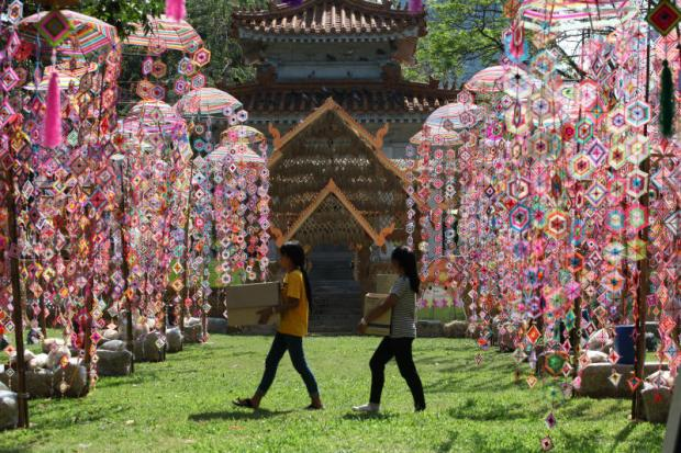 Decorations for the Thailand Tourism Festival are ready for opening on Wednesday.(Photo by Pawat Laopaisarntaksin)