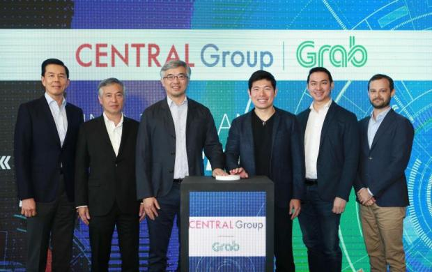 From leftYol Phokasub, president of Central Group; Prin Chirathivat, deputy group chief executive of Central Group; Tos Chirathivat, chief executive of Central Group; Anthony Tan, chief executive of Grab; Tarin Thaniyavarn, country head of Grab Thailand; and Russell Cohen, head of regional operations at Grab.