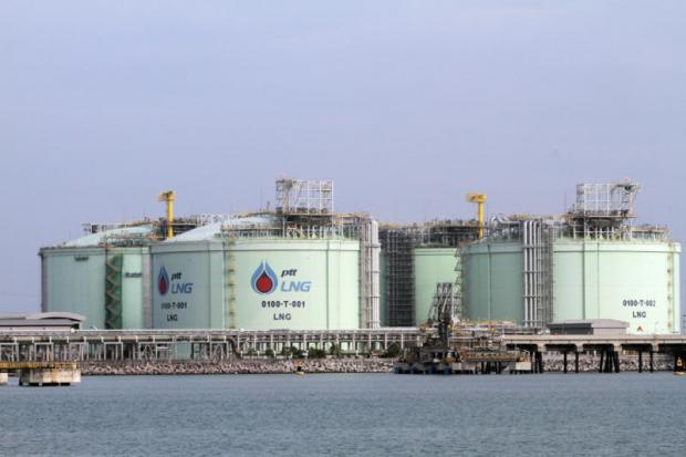 The LNG receiving terminal in Rayong, one of the facilities to which PTT will allocate this year's combined expansion budget of 450 billion baht. (Photo by Apichart Jinakul)