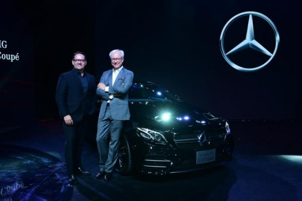 Mr Steinacher (left) and Mr Folger with the Mercedes-AMG CLS 53 4MATIC, a locally assembled model.