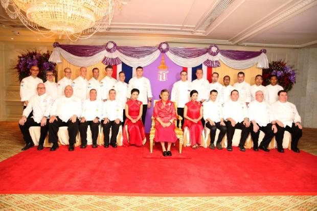 HRH Princess Maha Chakri Sirindhorn pictured with Patcharin and Nuntiya Hame-ung-gull of Gourmet One and the team of 22 chefs who participated in the 2019 Bangkok Chefs Charity Fundraising Gala Dinner, at the Mandarin Oriental, Bangkok.