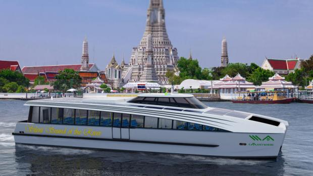 An artist's rendition of EA's boat, which is expected to ply the Chao Phraya River offering public transport.