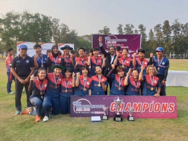 The Thai women's cricket team celebrate their success after defeating the UAE in the final match.