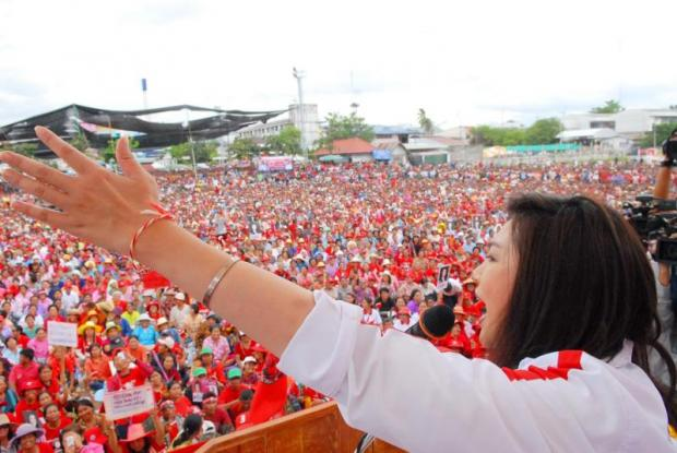 Former prime minister Yingluck Shinawatra speaks to her supporters during an election campaign rally in Chaiyaphum in 2011. PHOTO COURTESY OF PHEU THAI PARTY