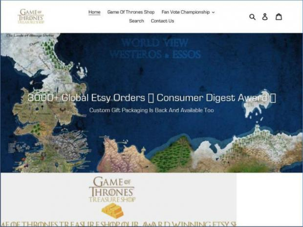 Among the phishing sites based on Game of Thrones is one masquerading as an official online store.