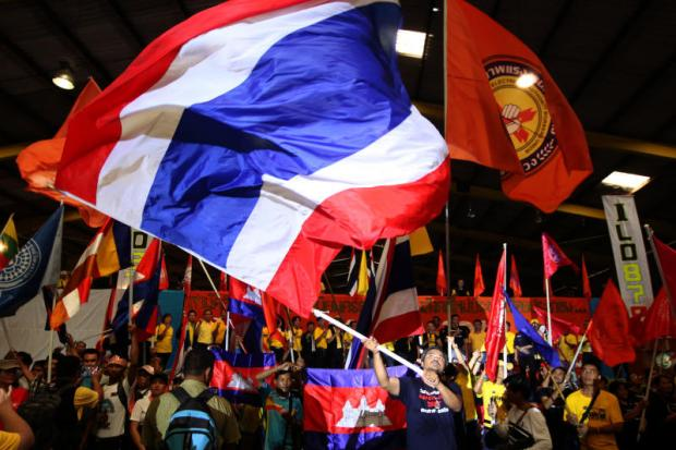 The Thai Labour Solidarity Committee and State Enterprises Workers' Relations Confederation mark International Labour Day on Wednesday at a warehouse of the Port Authority of Thailand.Wichan Charoenkiatpakul