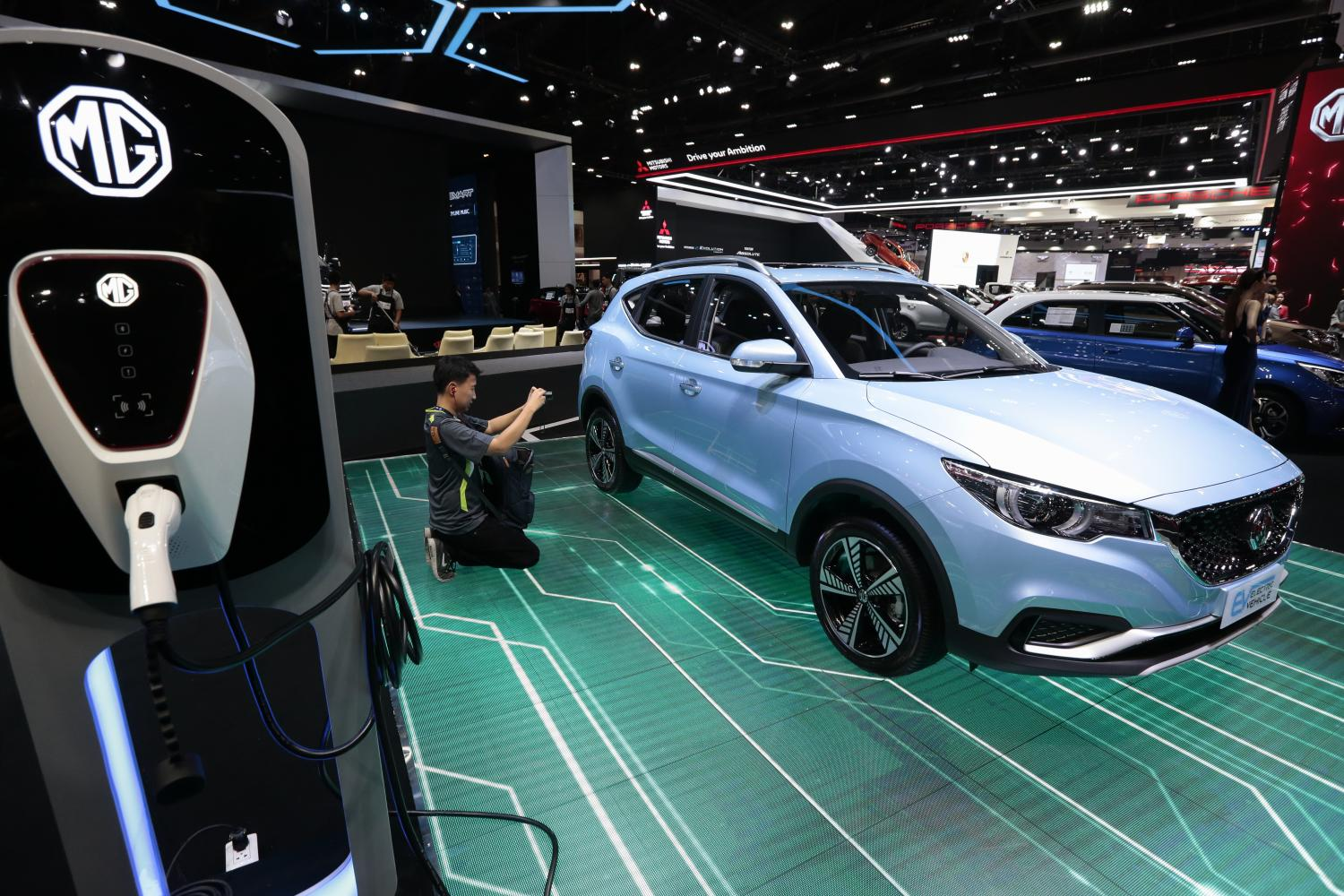 The MG ZS EV on display at the Bangkok International Motor Show in March. SAIC Motor-CP will launch the model for sale in June.  Patipat Janthong