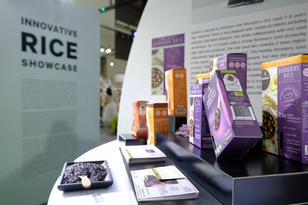 A showcase for rice innovation at Thaifex 2019. The Chamber of Commerce says innovative foods help boost exports.
