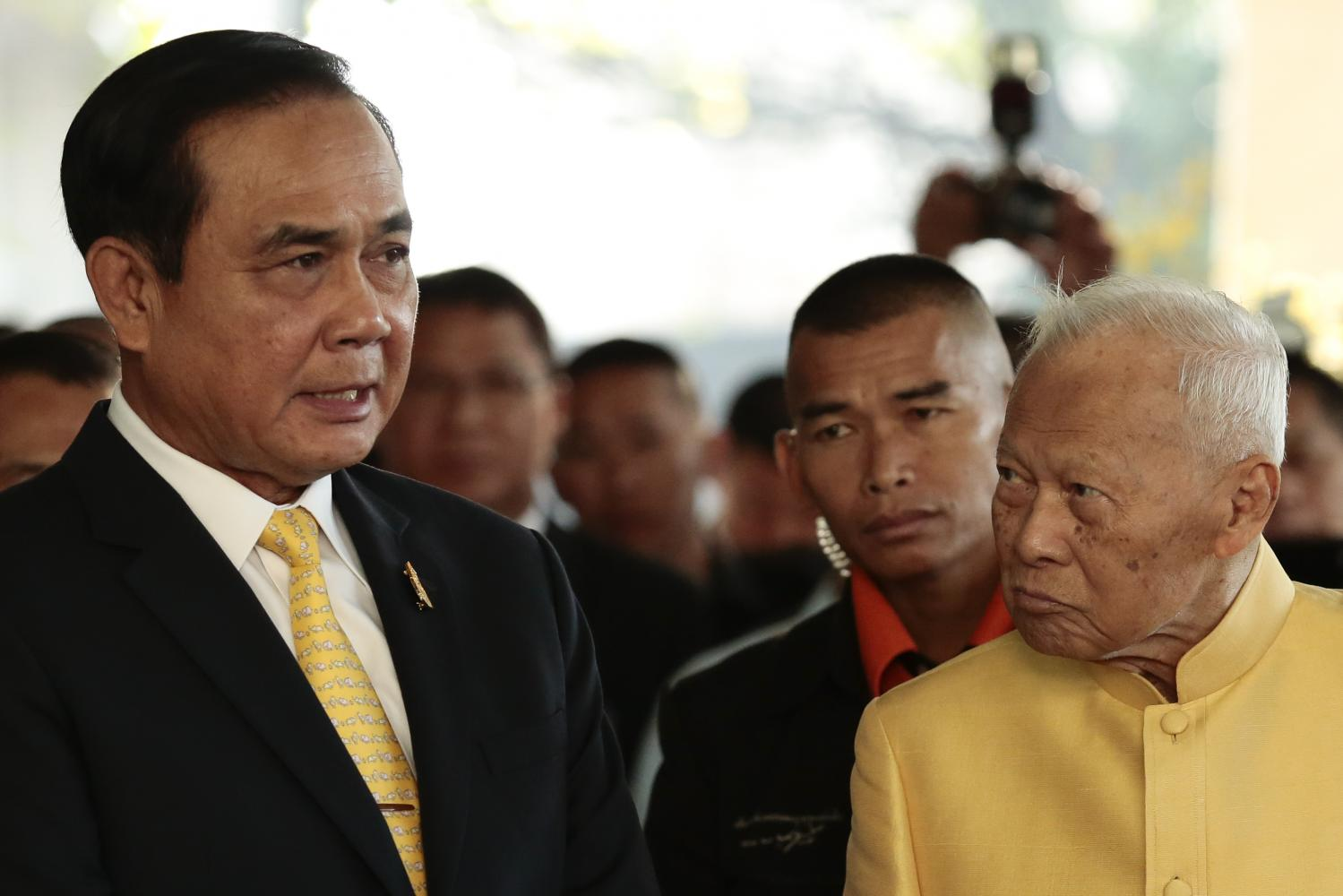 Prime Minister Gen Prayut Chan-o-cha speaks to Privy Council president Gen Prem Tinsulanonda at his Si Sao Thewes residence last month. Following the passing of Gen Prem on Sunday, there have been unbecoming remarks about him from those who despise the military regime.PATIPAT JANTHONG
