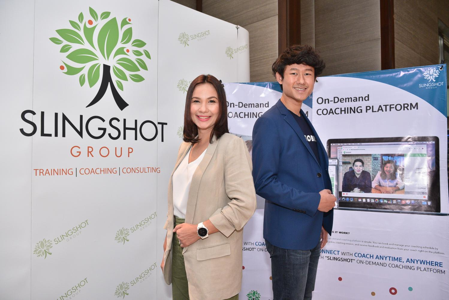 Ms Sutisophan (left) and Mr Takarn at the launch of OMG e-coaching on-demand platform.