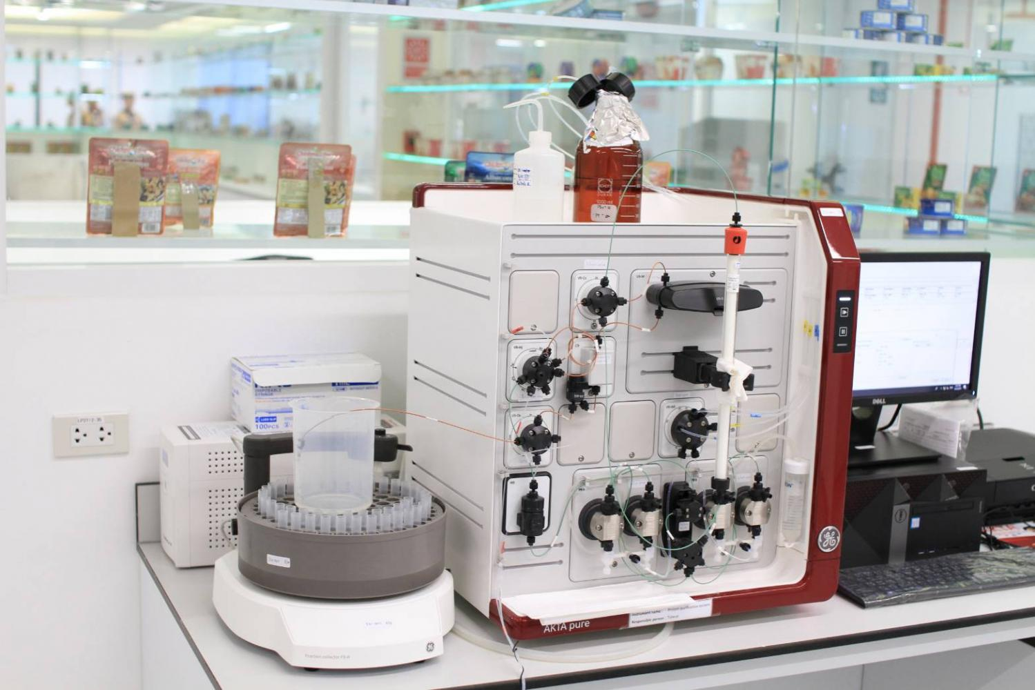 Protein analysis is conducted at Thai Union using a protein purification system.