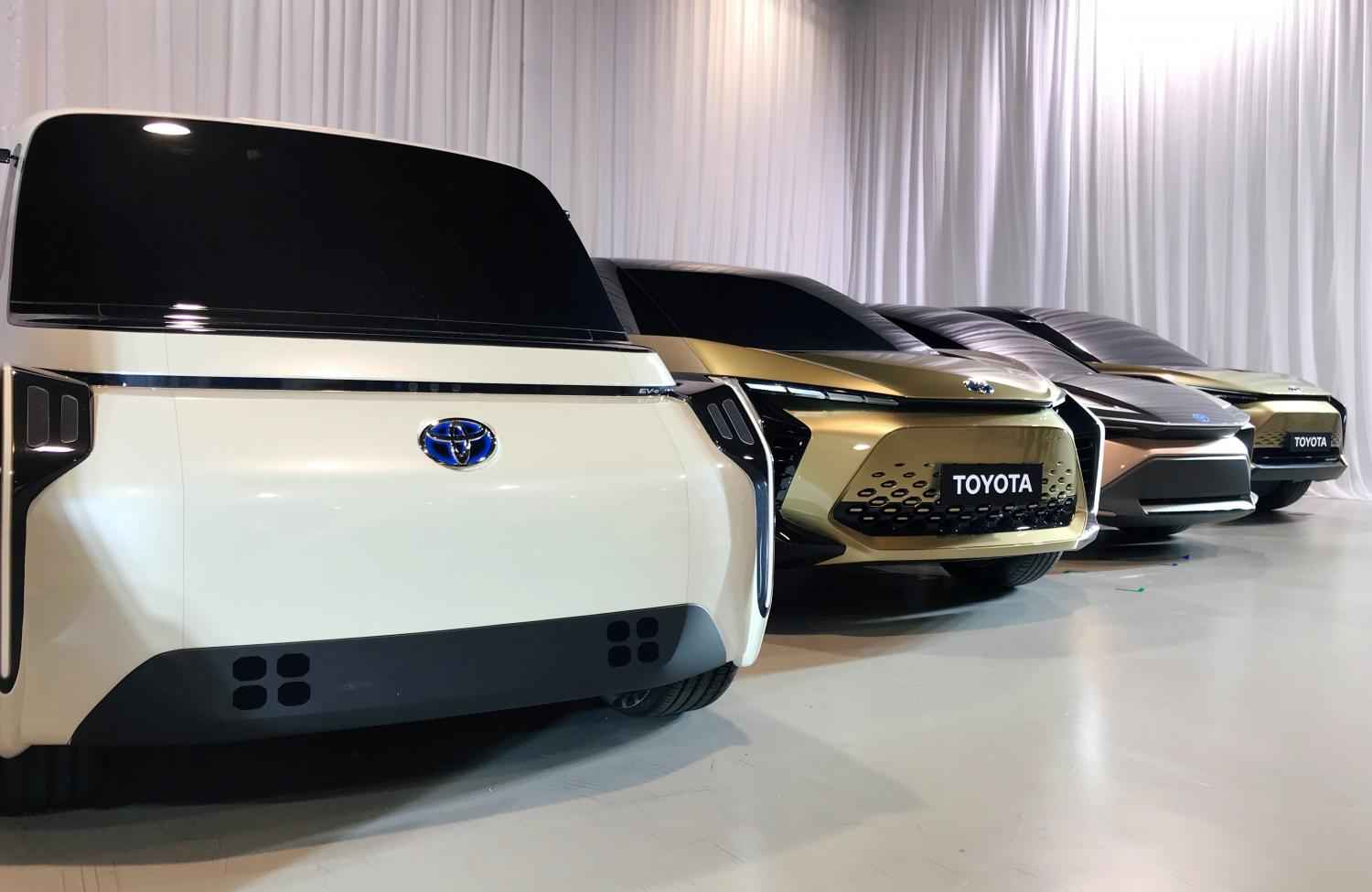 Toyota Motor Corp displays concept versions of its next-generation electric vehicles at a news briefing in Tokyo on Friday.