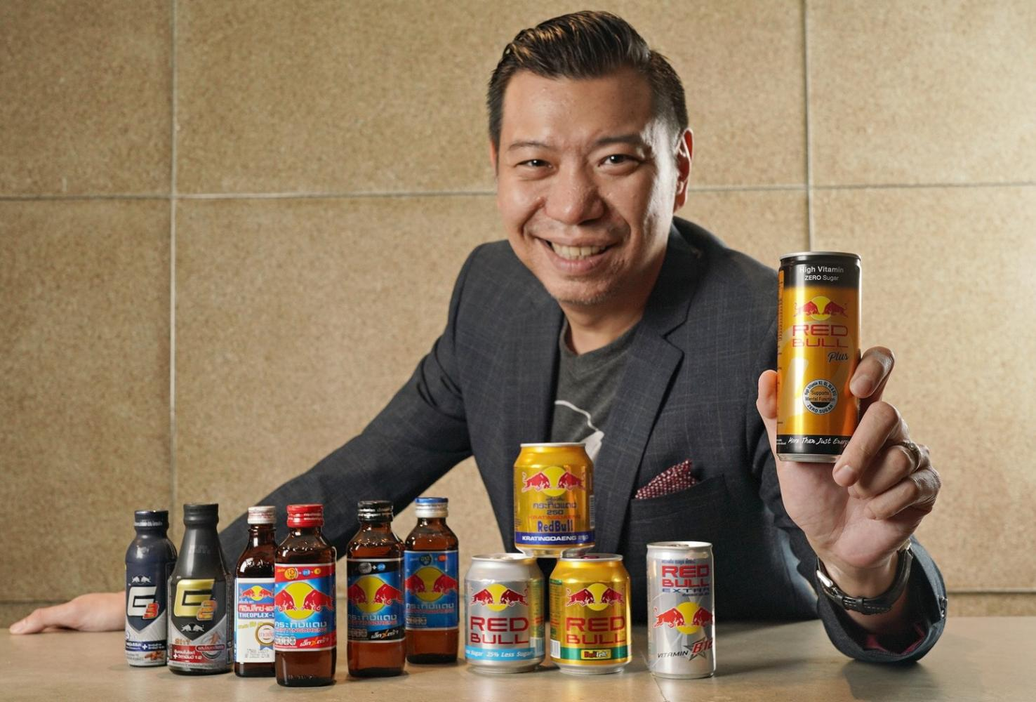 Mr Supachai shows some products under the Krating Daeng and Red Bull brands.