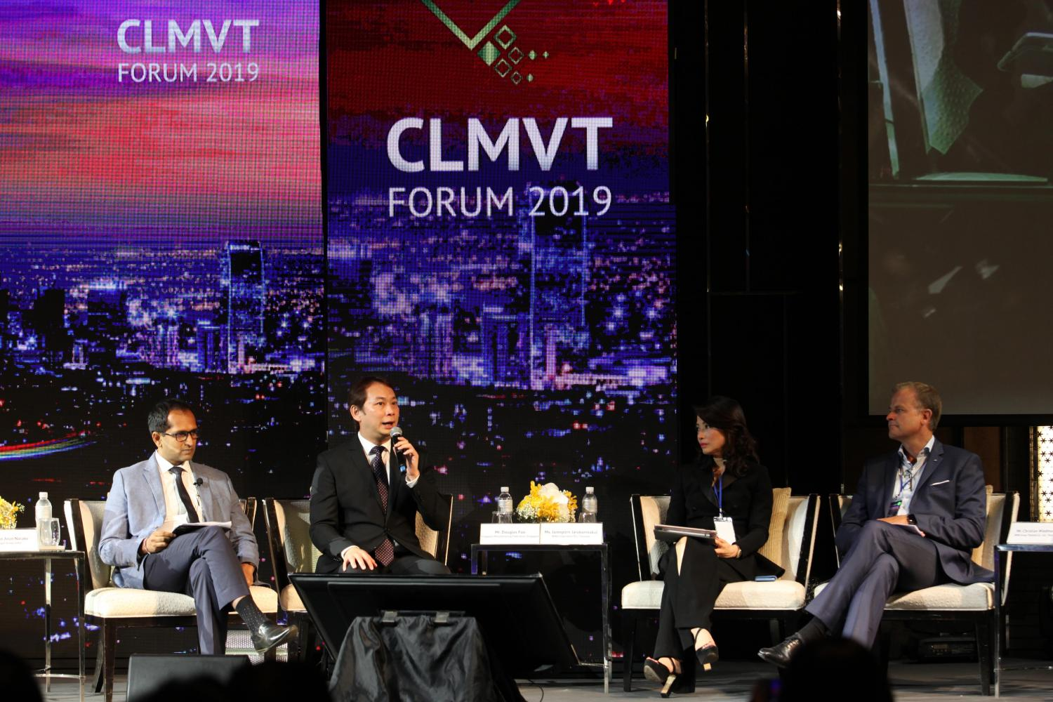 From left, Chetan Arun Narake, Douglas Foo, Jareeporn Jarukornsakul and Christian Wiedmann discuss issues at the CLMVT Forum 2019, calling for new business and economic opportunities in the region.Wichan Charoenkiatpakul