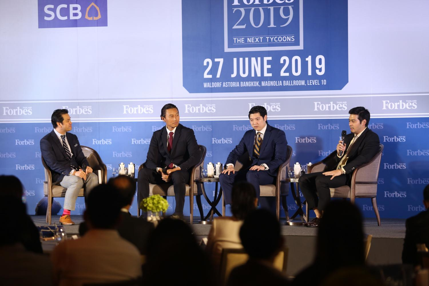 From rightPiti Bhirombhakdi, director of Boon Rawd Brewery Group; Tanit Chearavanont, managing director of LOTS Wholesale Solutions, an arm of the CP Group; and Chalermchai Mahagitsiri, CEO & President of the PM Group and Thoresen Group attend the Forbes Thailand Forum 2019.Varuth Hirunyatheb