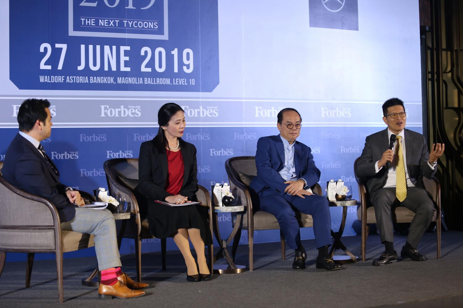 From second left:Mrs Arinya, Mr Kitipong and Mr Sathit speak at the Forbes Thailand Forum 2019.(Photo by Varuth Hirunyatheb)