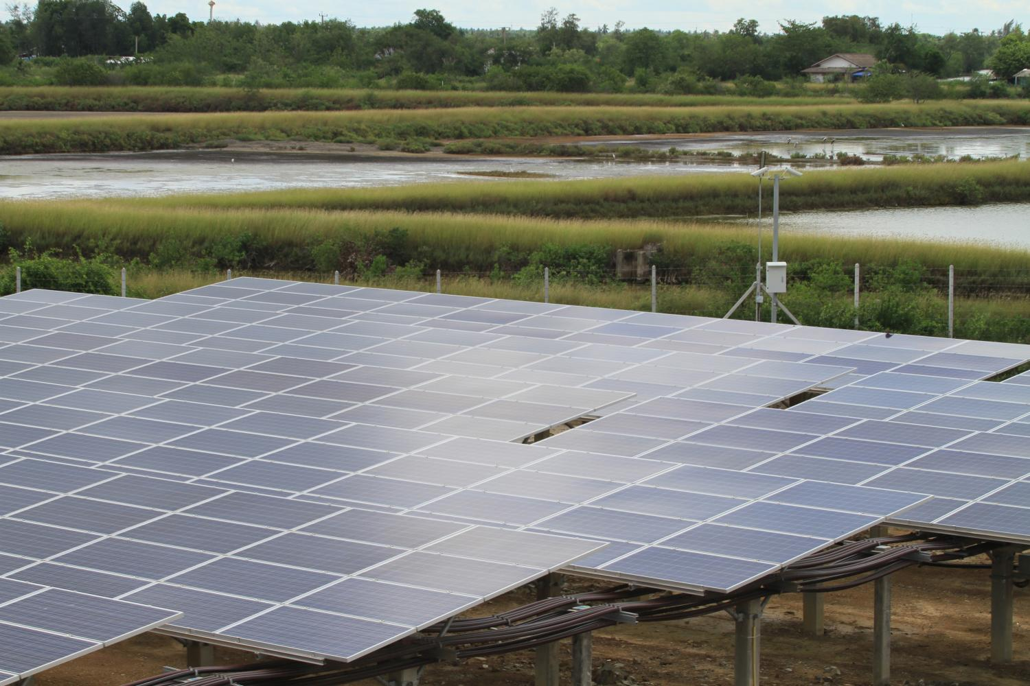A solar farm in Samut Sakhon. Policymakers will change the details of the solar power scheme to reach the capacity goal of 10,000MW. Somchai Poomlard
