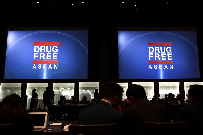 Large screens display the 'Drug Free Asean' motto at the 8th Asean Drug Monitoring Network Operational Workshop being held in Bangkok.Patipat Janthong
