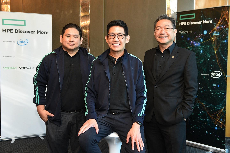 From left Surachai Atthamongkol-chai, hybrid IT country manager for Hewlett Packard Enterprise Thailand, Mr Palasilp and Mr Djitt.