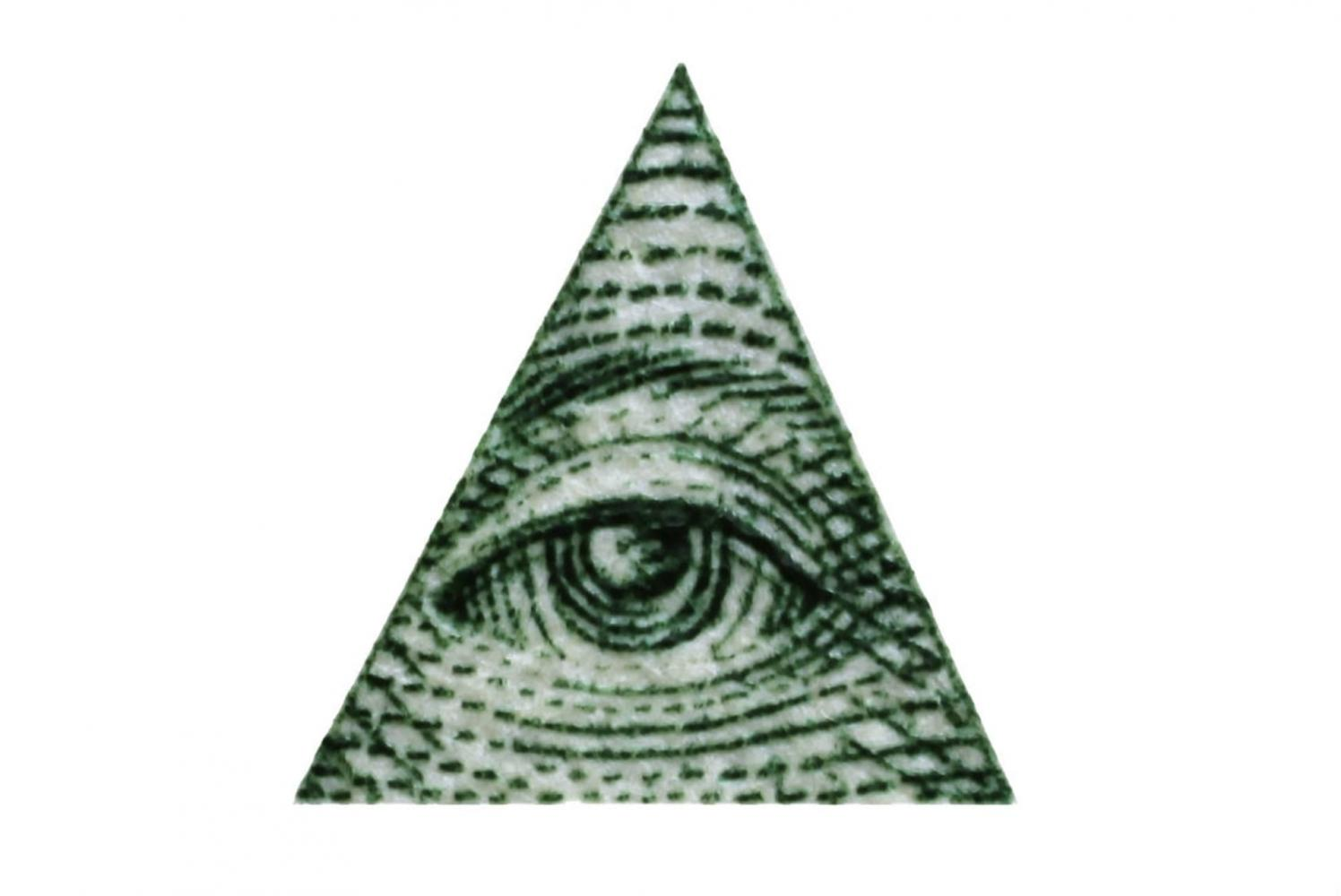 FFP's logo, right, which is in the shape of an upside-down triangle is compared to the triangular sign of the Illuminati secret society.