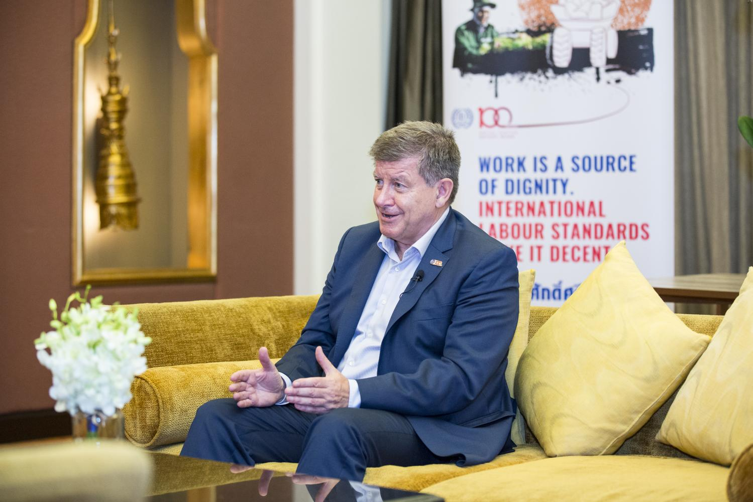 Guy Ryder, director-general of the International Labour Organisation, speaks during an exclusive interview with the 'Bangkok Post'. (Photo by Alisa Suwanrumpha)