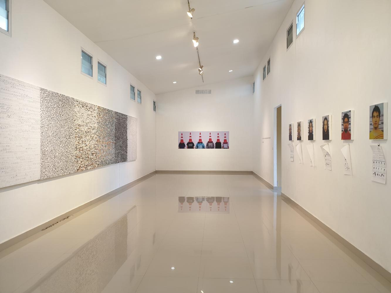 Works by young artists are on display at an exhibition opened last week at Patani Artspace in Pattani province. photo courtesy of Patani Artspace