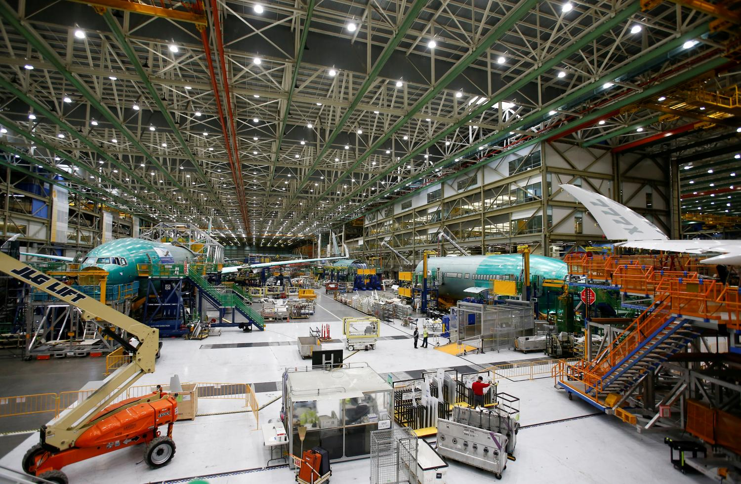 Several 777X aircraft are seen in various stages of production during a media tour of Boeing Co's production facility in Everett, Washington on Feb 27, 2019. (Reuters photo)